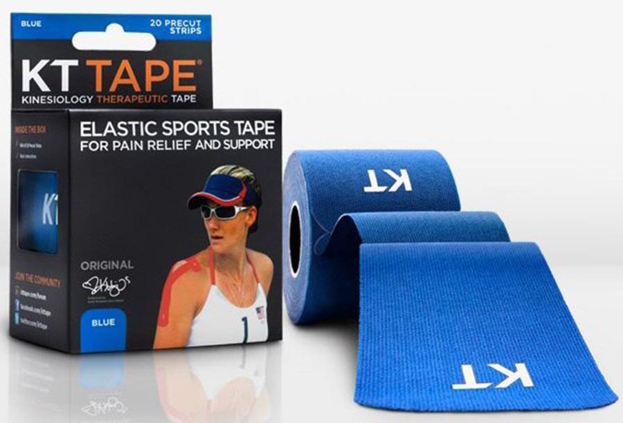"KT Tape Cotton Original Precut Kinesiology Tape, 10"" X 2"" Blue"