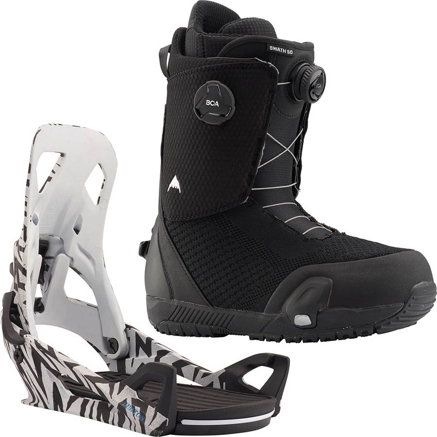 Burton Swath Boa Step On Snowboard Binding & Boots UK 10.5 Black/Volts