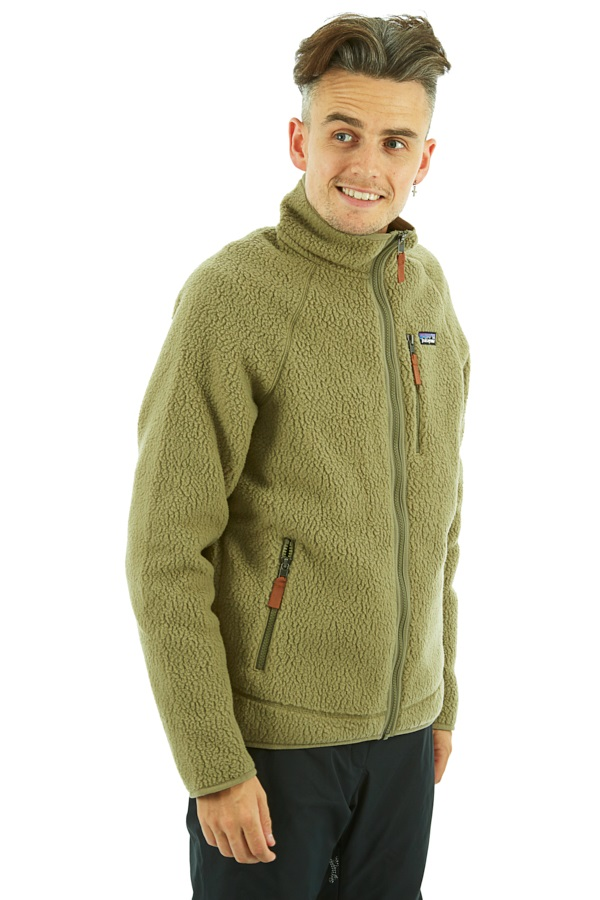 Patagonia Retro Pile Full Zip Fleece Jacket, S Sage Khaki