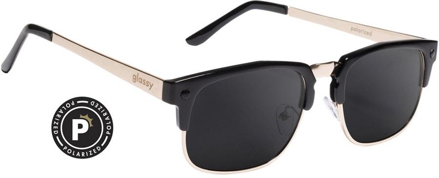 Glassy Sunhaters P-Rod Sunglasses Black/Gold, Black Polarized Lens