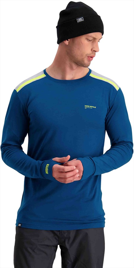 Mons Royale Alta Tech Crew Long Sleeve Merino Wool Top L Oily Blue