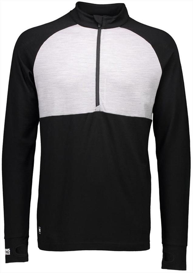 Mons Royale Checklist 1/2 Zip LS Merino Wool Top, M Black/Grey Marl