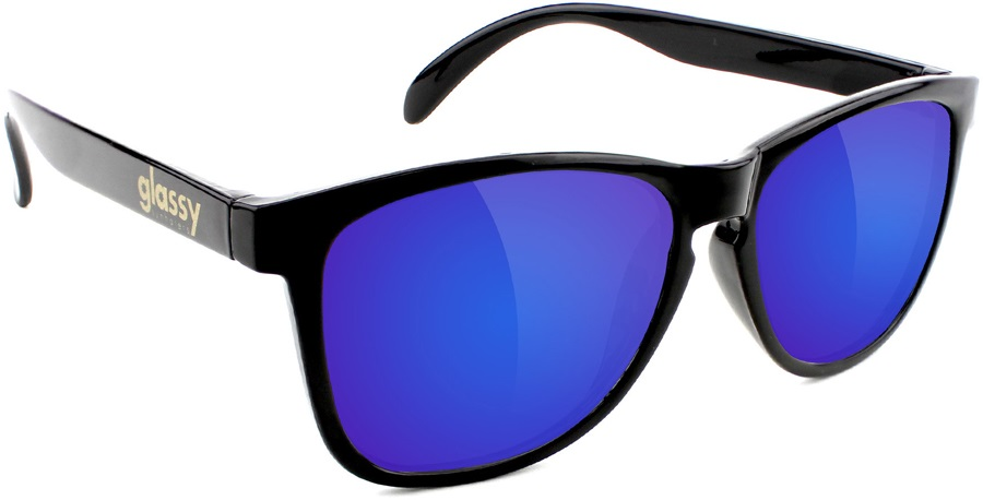 Glassy Sunhaters Deric Sunglasses Black Blue Mirror Lens