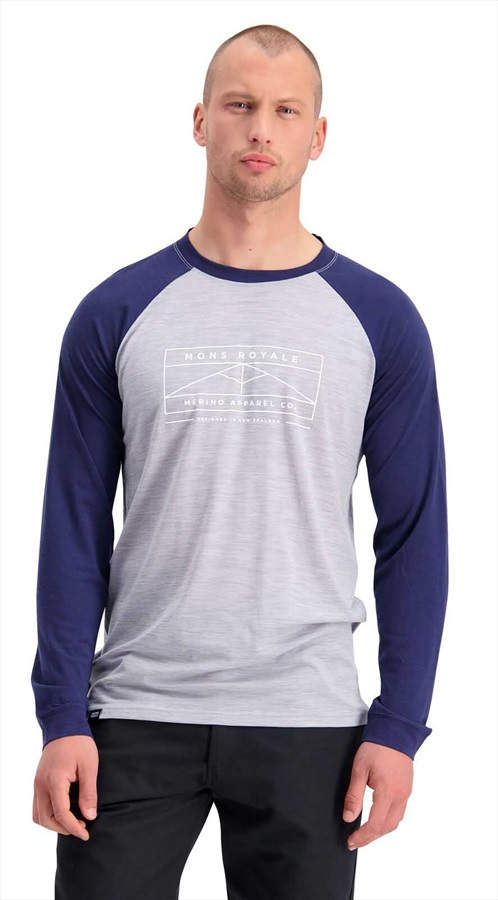 Mons Royale Icon Raglan Long Sleeve Merino Wool Top M Navy/Grey Marl
