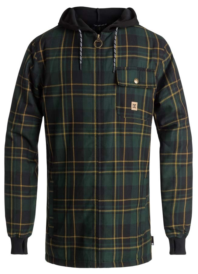 DC Backwoods Ski/Snowboard Tech Zip Hoodie, M Pine Grove Plaid