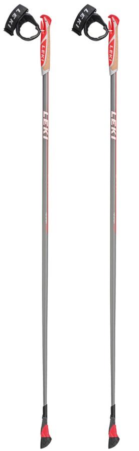 Leki Smart Carat Lightweight Nordic Walking Poles, 120cm Grey/Red