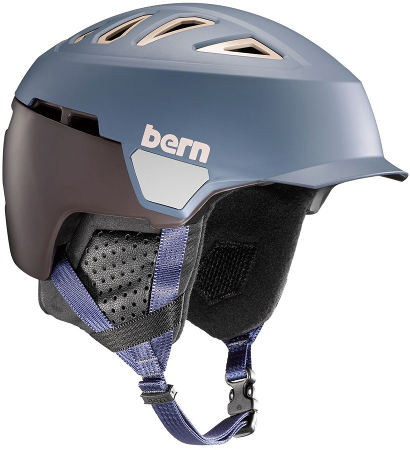 Bern Heist Brim Winter Snowboard Helmet, M Matte Denim
