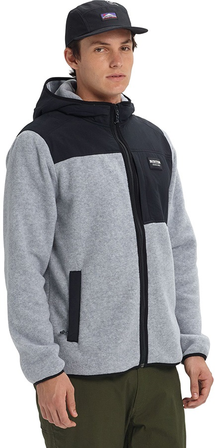 Burton Hearth Full-Zip Ski/Snowboard Fleece Hoodie, M Grey/Black