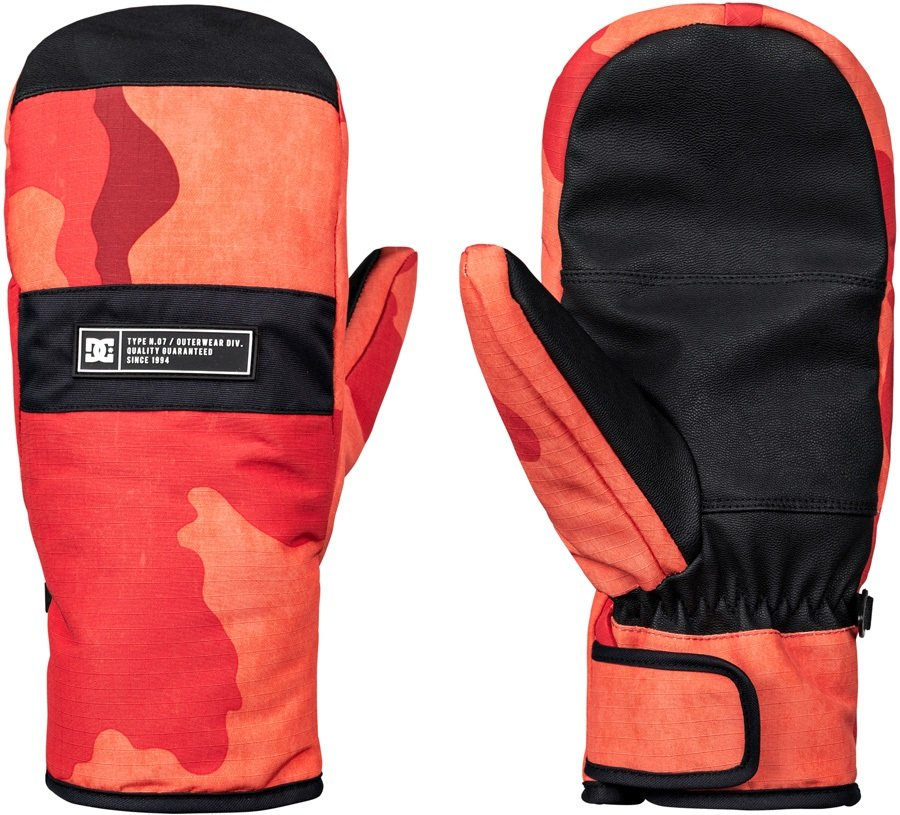 DC Franchise Ski/Snowboard Mittens, S Red Orange DCU Camo