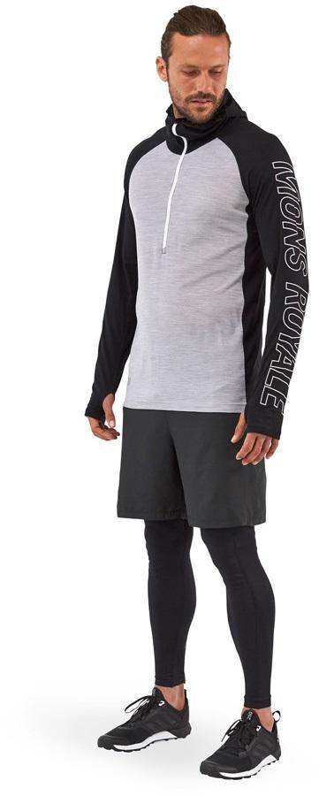 Mons Royale Temple Tech Hood Merino Thermal Top S Black/Grey Marl