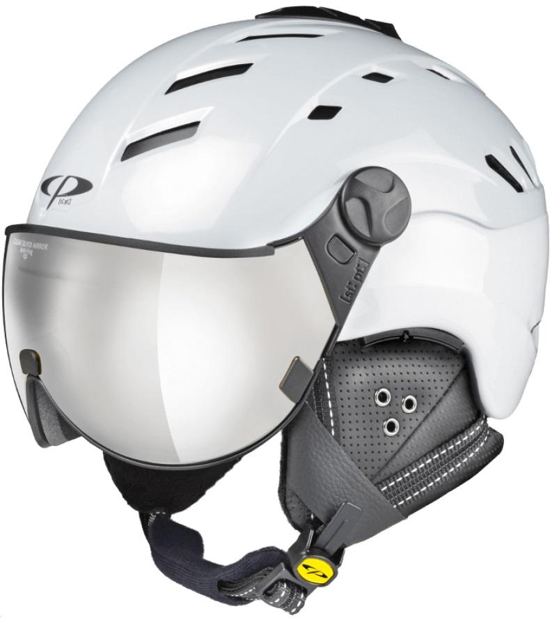 CP Camurai Silver Mirror Snowboard/Ski Visor Helmet, L Pearl