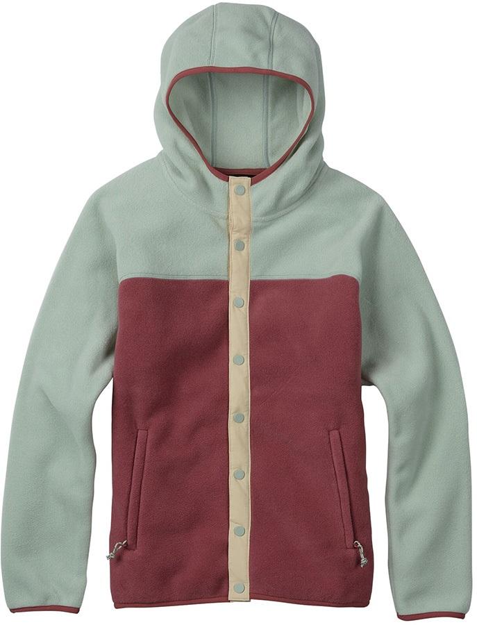Burton Hearth Snap-Up Women's Fleece Hoodie, S Aqua Grey/Rose Brown