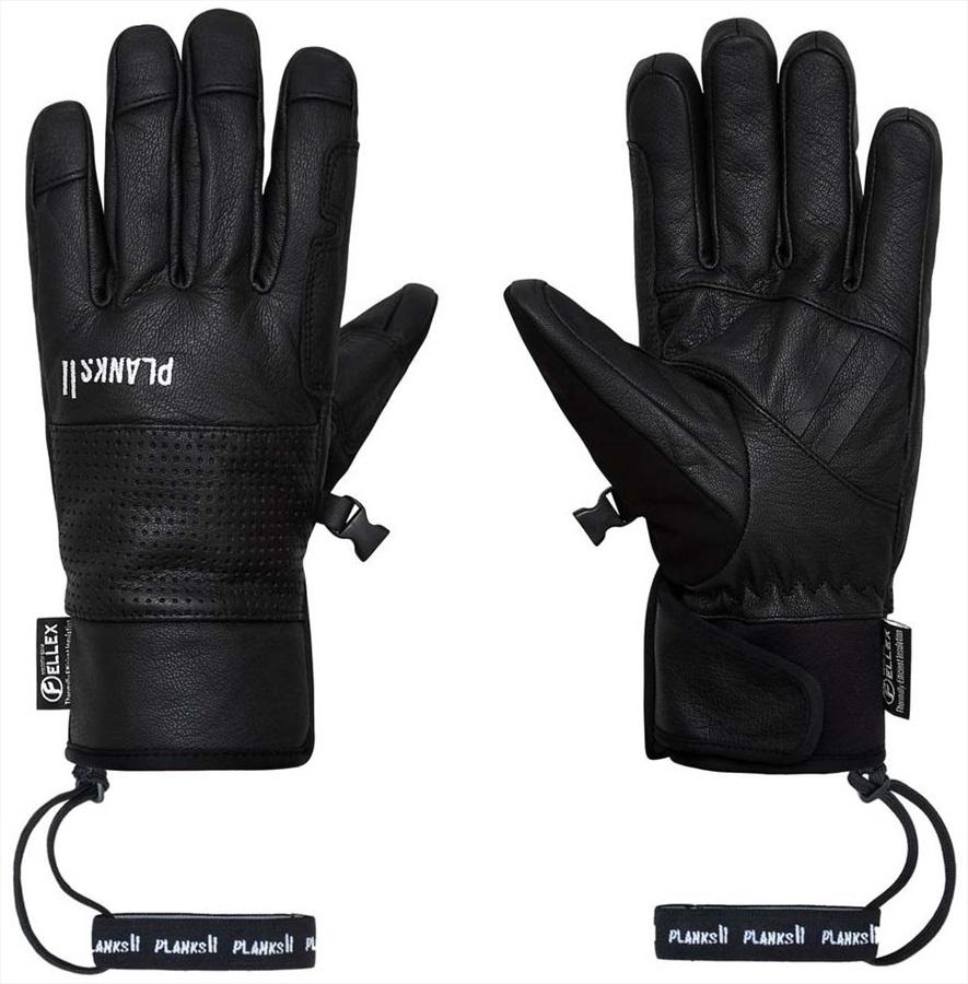 Planks Hunter Leather Insulated Ski/Snowboard Gloves, S Black