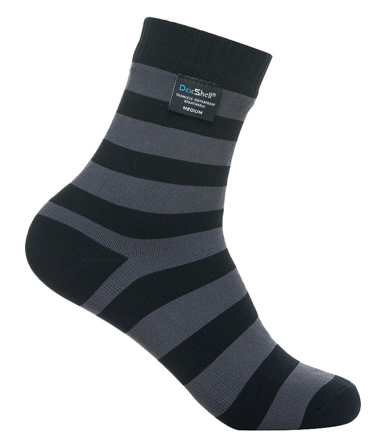 DexShell Ultra Lite Bamboo Waterproof Socks, UK 6-8, Stripe Black/Grey