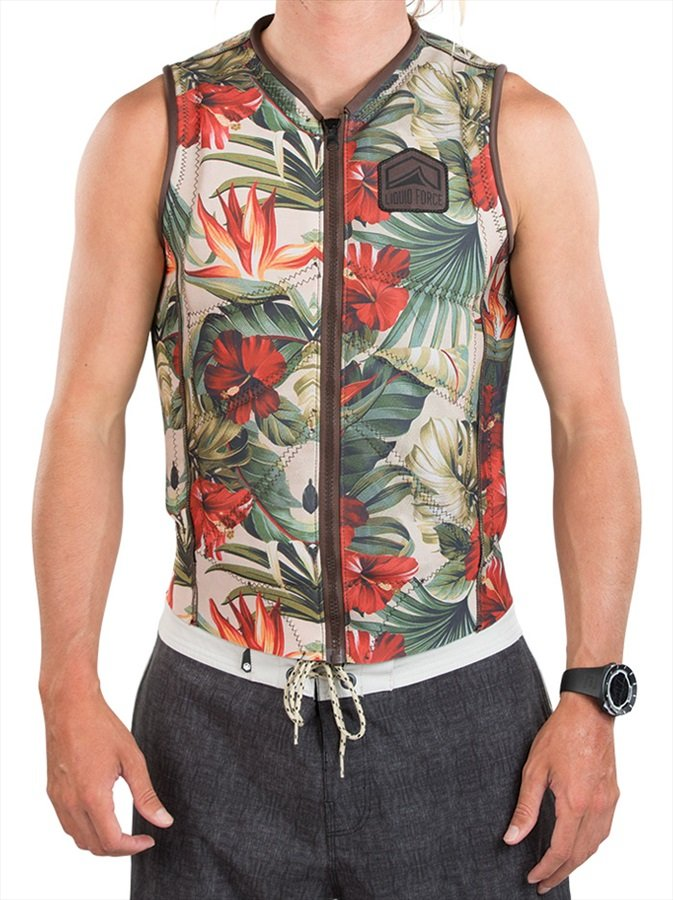 Liquid Force Z Cardigan Zip Wakeboard Impact Vest, S Tropical
