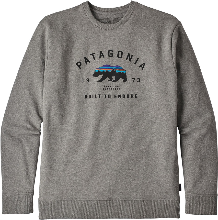 Patagonia Fitz Roy Bear Uprisal Crew Sweatshirt, S Gravel Heather