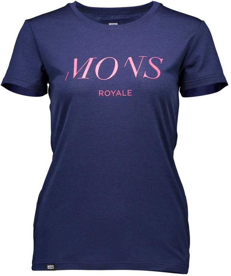Mons Royale Classic SS Serif Women's Merino Wool T-Shirt, XS Navy