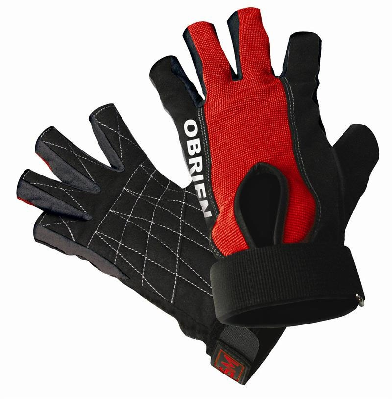 O'Brien Ski Skin 3/4 XS Waterski Gloves, X Small Black Red