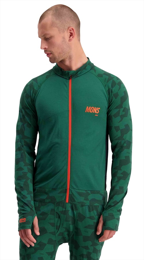 Mons Royale Supermons 3/4 Merino Wool Thermal One-Piece L Pine Camo