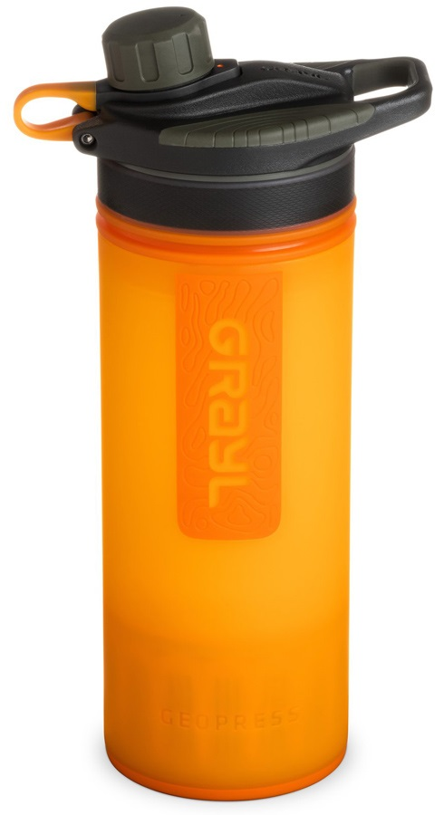 Grayl GeoPress Water Purifier Travel Filter Bottle, 710ml Orange