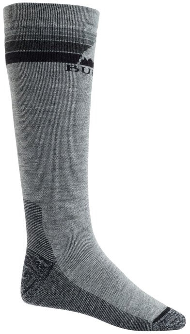 Burton Emblem Midweight Ski/Snowboard Socks, S Grey Heather