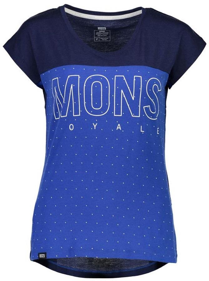 Mons Royale Phoenix Cap Women's Merino Wool T-Shirt, XS Blue Dot/Navy