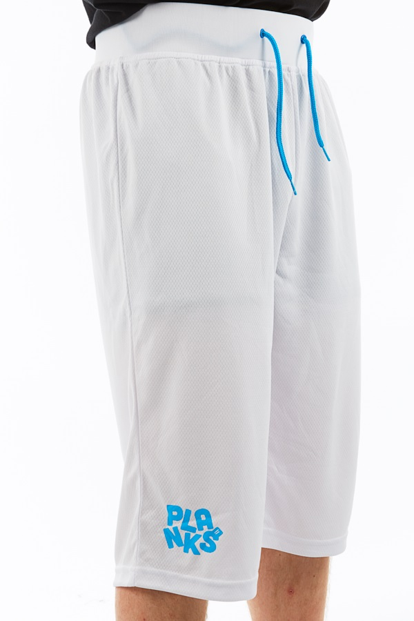 Planks Shred Base Layer Thermal Shorts, M White/Cyan