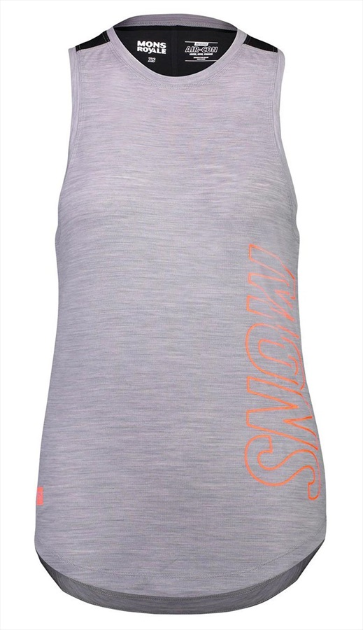 Mons Royale MTN X Women's Merino Wool Tank Top Vest, S Black/Grey Marl