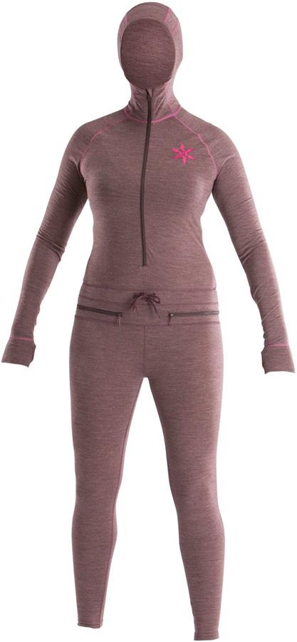 Airblaster Womens Merino Ninja Thermal Base Layer Suit, M Plum
