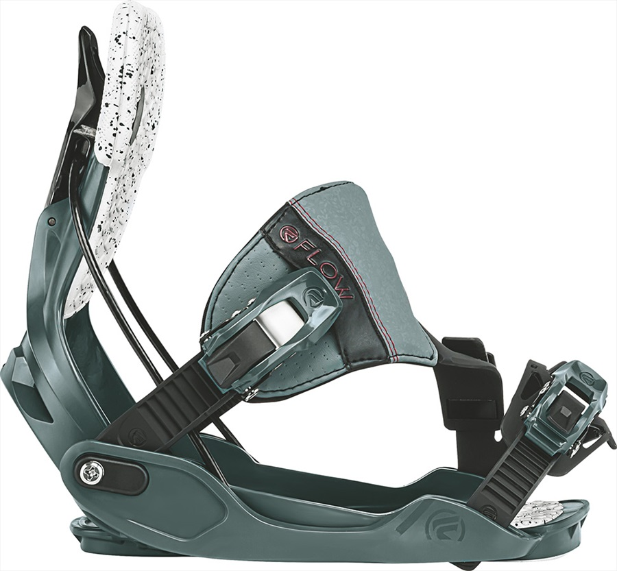 Flow Minx Hybrid Women's Snowboard Bindings, L Slate/Ruby 2018