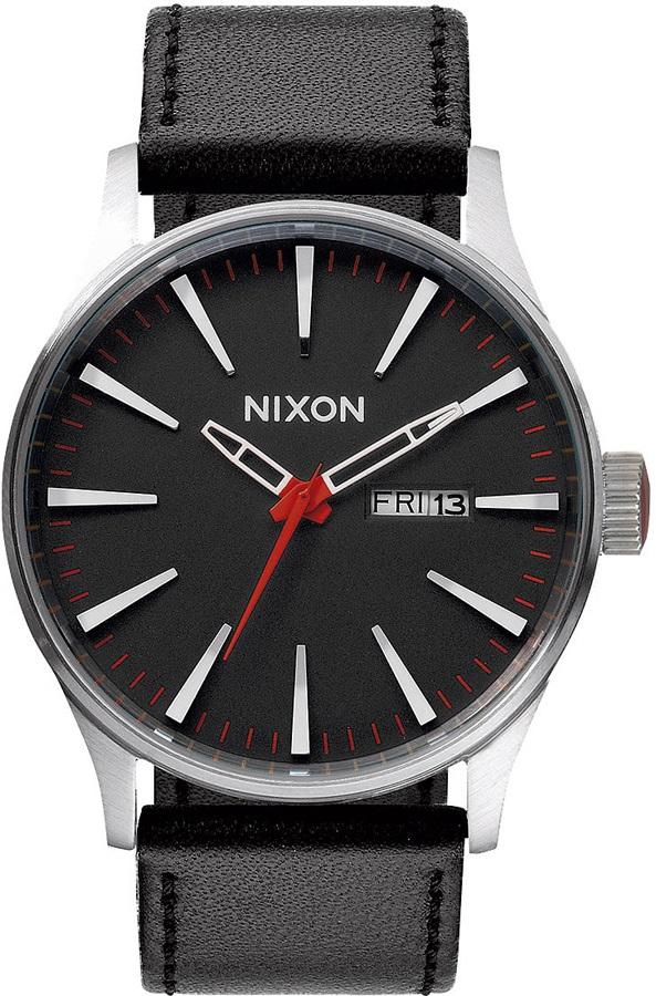 Nixon Sentry Leather Men's Wrist Watch, Black