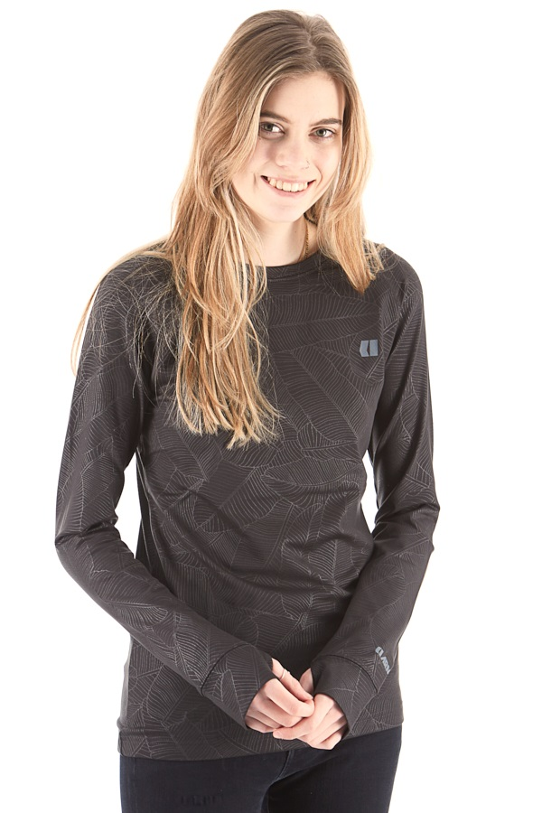 Armada Haven Crew Womens Base Layer, M Black Banana Leaf