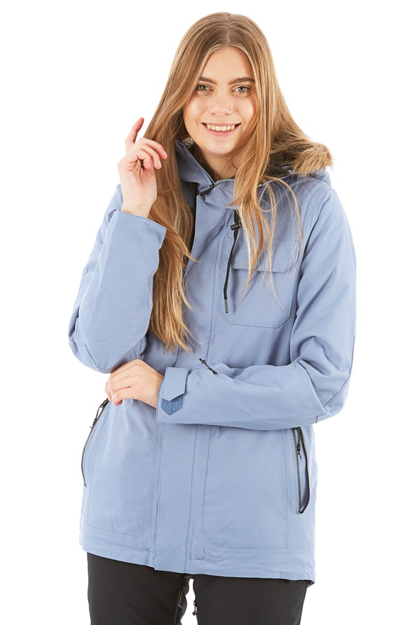 Large Washed Blue Volcom Womens Shadow Insulated Snow Jacket