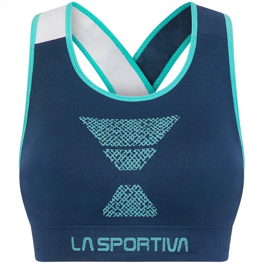 La Sportiva Womens Focus Top Sports Bra, S Opal/Aqua