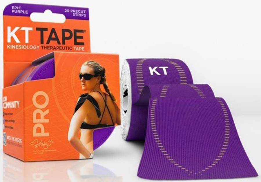 """KT Tape Synthetic Pro Precut Kinesiology Tape, 10"""" X 2"""" Epic Purple"""