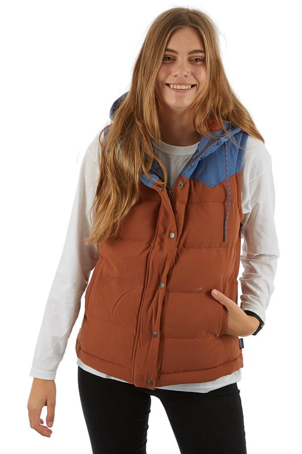 Patagonia Womens Bivy Down Hooded Vest Body Warmer Gilet, L Sisu Brown