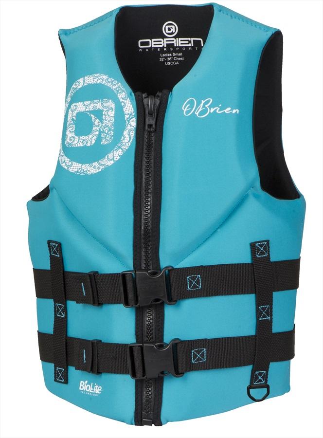 O'Brien Ladies Traditional Biolite Neo Watersports Ski Vest, XS Aqua