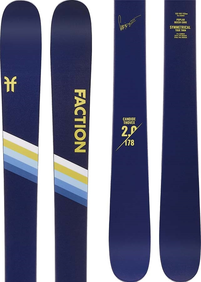 Faction Candide CT 2.0 Ski Only Skis, 178cm Blue/Yellow 2020
