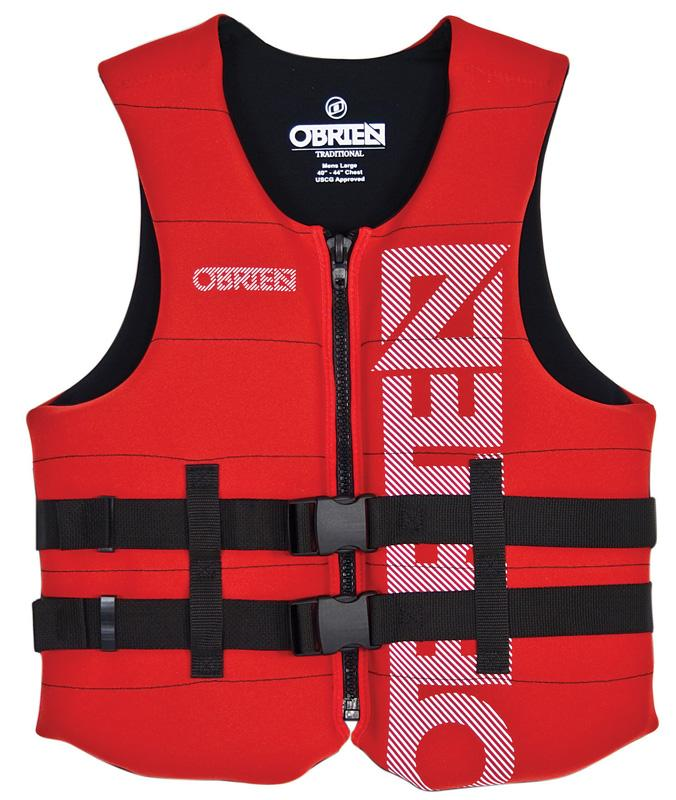 O'Brien Traditional Neo Ski Impact Vest Buoyancy Aid, XL. Red Black