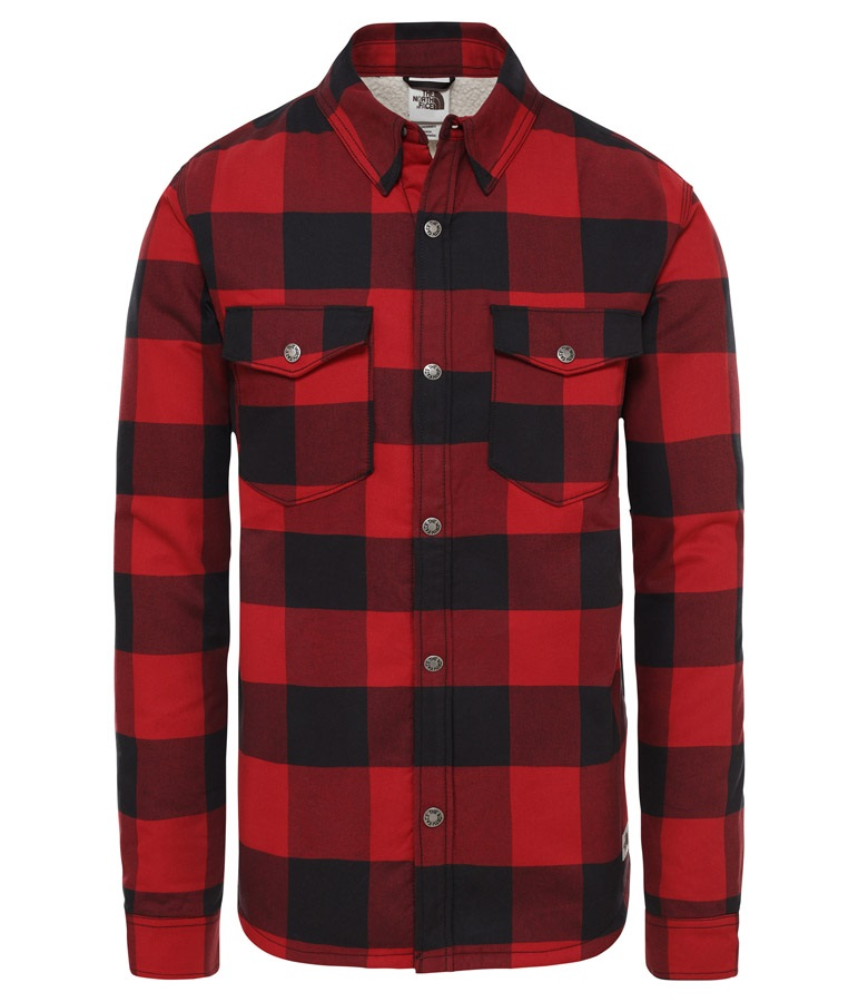 The North Face Campshire Fleece Flannel Shirt, M Red/Black Plaid