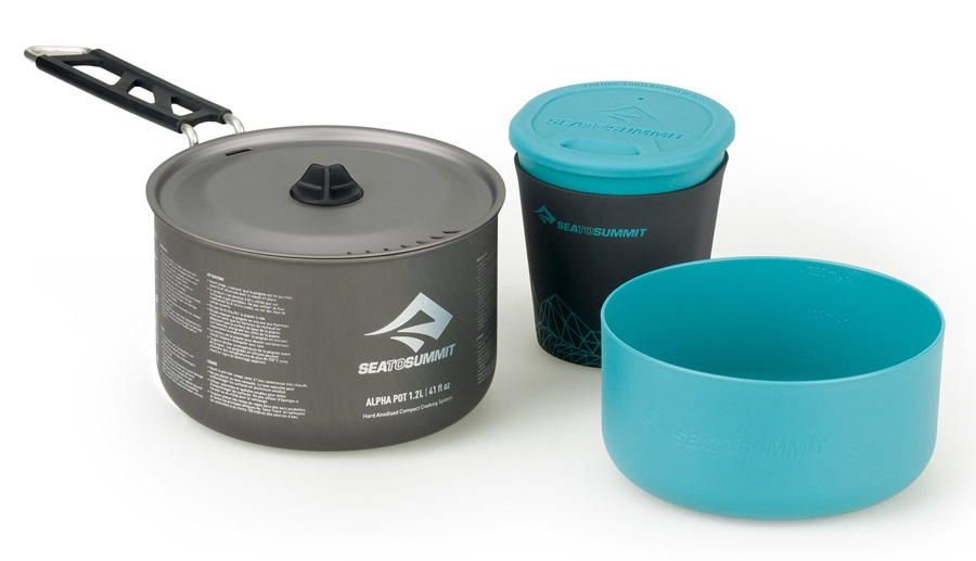Sea to Summit Alpha Pot Cook Set 1.1 Camping Cookware, 1.2L Blue/Grey