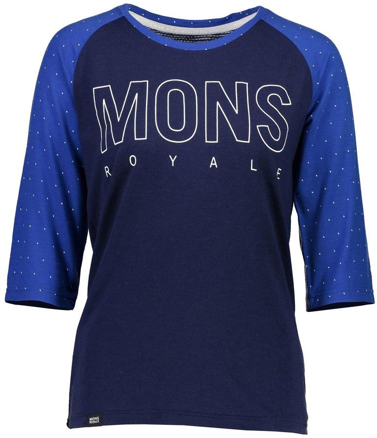 Mons Royale Phoenix 3/4 Raglan Women's Merino Wool Top M Blue Dot/Navy