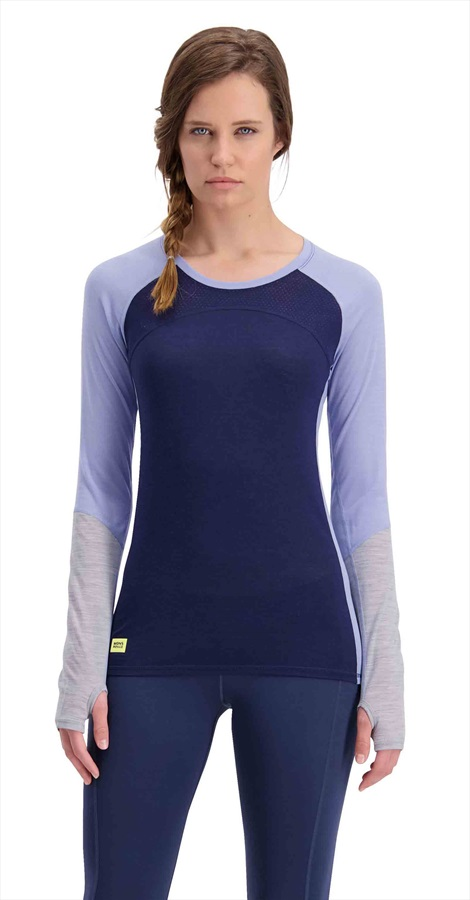 Mons Royale Bella Tech LS Women's Merino Wool Top S Navy/Blue/Grey