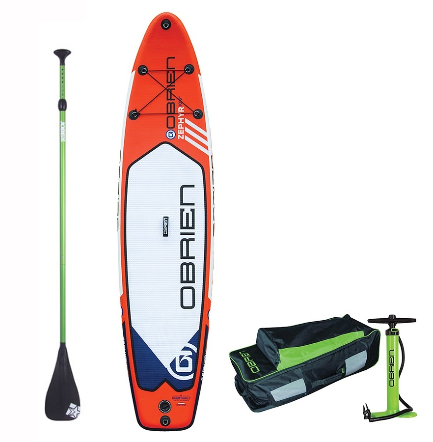 """O'Brien Zephyr Touring ISUP Paddleboard Package, 10'6"""" Red"""