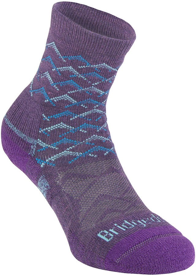 Bridgedale Hike Lightweight 3/4 Crew Women's Hiking Socks, L Purple