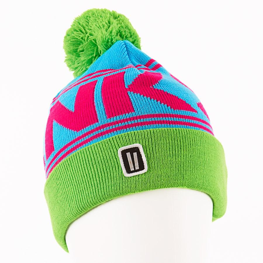 Planks Classic Snowboard/Ski Bobble Hat, One Size Magenta/Cyan/Green