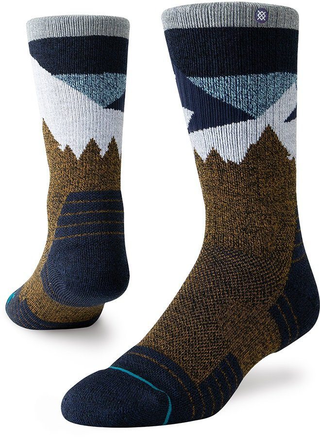 Stance Divide Hike Crew Walking/Hiking Socks, M Brown
