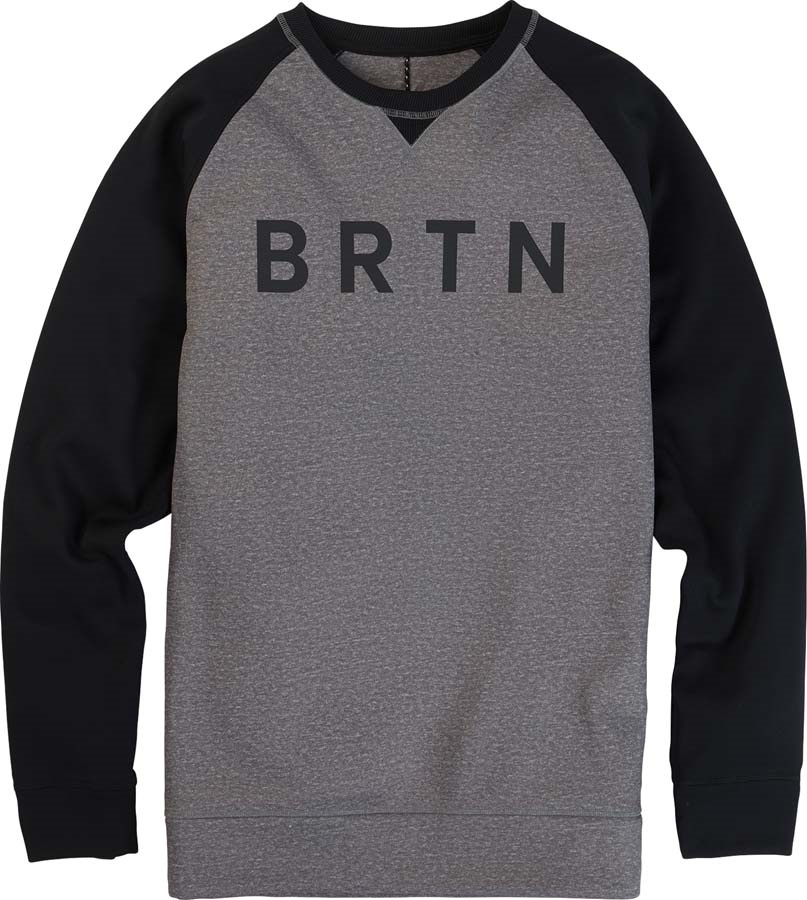 Burton Crown Bonded Crew Pullover Sweater, S Heather/Black
