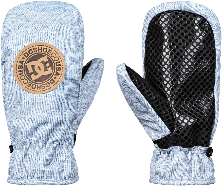 DC Shelter Ski/Snowboard Mitts, L Light Blue Acid Was Denim