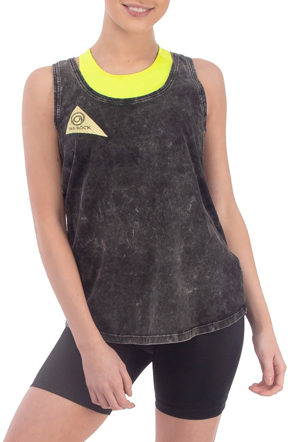 3rd Rock Womens Sun Vest Organic Cotton Vest, S Acid Black/Cowslip